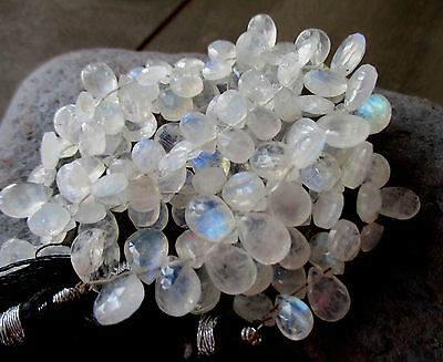 Rainbow Moonstone faceted pear briolette- 7-8mm- 8 briolette
