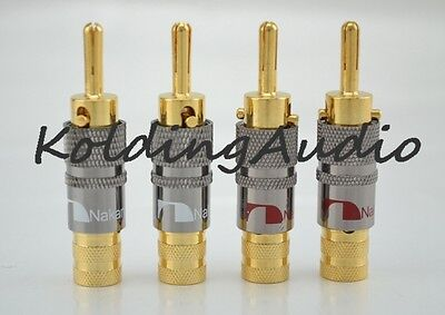 4x Nakamichi 24k Audio Banana Speaker Plug Screw Lock 10mm Cable Wire Connector