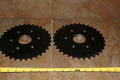 "Set 2 - Martin Steel Roller Chain Sprocket   32 teeth  3"" bore  60A32"