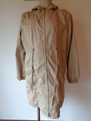 Mothercare Maternity Stone Cotton Parka Coat Mac Jacket Size 10