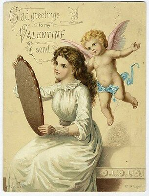 VALENTINE Victorian Greeting Card 1880s - Woman Looking in Mirror & CUPID Cherub