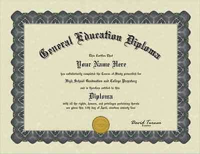 A Personalized General Education Diploma GED Certificate bordered with Gold seal