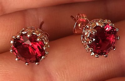 Antique Style Rose Gold Ruby Red Stones Small Prong Pierce Round Stud Earrings