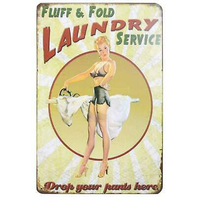 Laundry Service Retro Metal Tin Sign Homewares Decor Vintage Pin Up Girl Bar