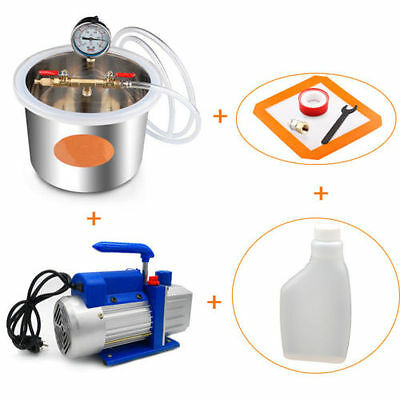 1.32 Gallon/5L Vacuum Chamber and 4 CFM Single Stage Pump to Degassing Silicone