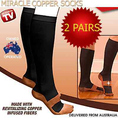 2 Pairs Miracle Copper Compression Support Socks Anti Fatigue Unisex Travel DVT