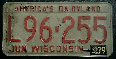 WISCONSIN 1979 - USA number licence license plate L96.255