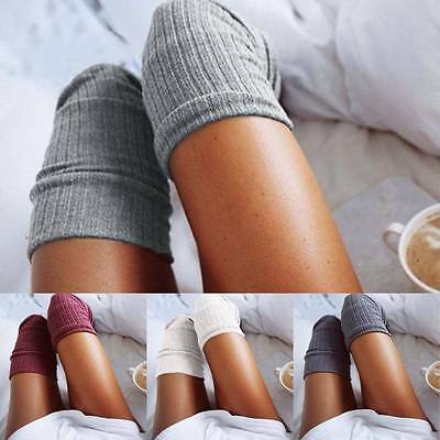 Winter Women Soft Cable Knit Over knee Long Boot Thigh-High Warm Socks Leggings