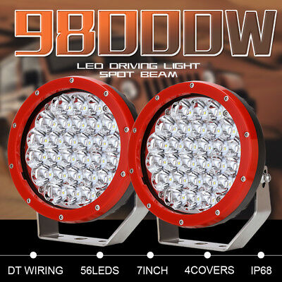 7'' 98000W LED CREE ROUND Red Driving Work Spotlights Offroad 4x4 Truck ATV SUV