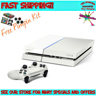 White PlayStation 4 Console PS4 500GB   2 Free Games   + 4 FREE MOVIES