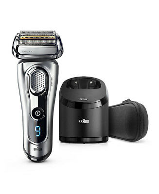 New Braun Series 9 Wet/Dry Electric Shaver Silver Plus Clean&Charge Station & Tr
