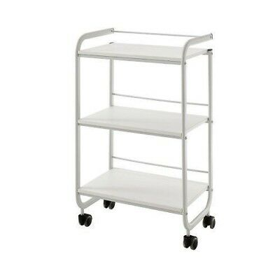 Three Tier Shelved Beauty Trolley Wheels White Salon Hairdressing Spa