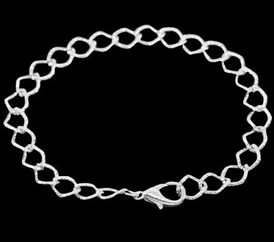 ❤ 12 x Silver Plated Charm BRACELETS Textured Square Curb Chain 20cm Wholesale ❤