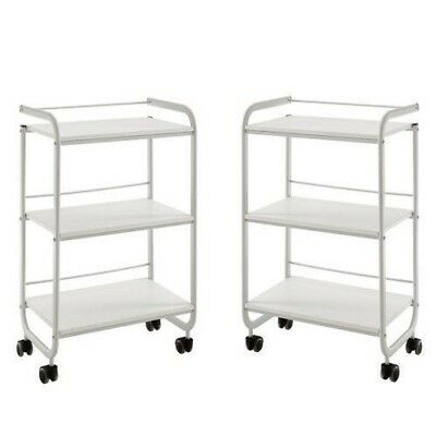 2 Pack Three Tier Shelves Beauty Trolley Wheels White Salon Hairdressing Spa