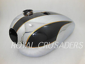 NEW TRIUMPH T140 BLACK PAINTED AND CHROME PLATED PETROL TANK (REPRO) (code879)