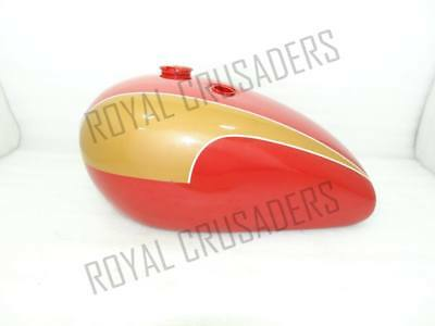 NEW TRIUMPH T140 RED AND GOLDEN PAINTED PETOL TANK (REPRODUCTION) (code890)