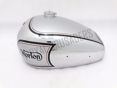NORTON ES2 SILVER PAINTED CHROME FUEL TANK 1952(2 side hole for knee pad) (CODE8