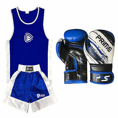 New Kids Boxing Uniform Set Top & Short Age 3-14 Years Boxing Gloves 1012 - Blue