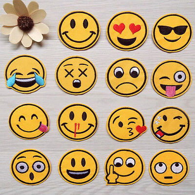 7pcs/set Emoji Exaggerated Expression Iron on Sew on Patches Embroidered Badge
