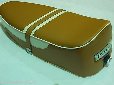 Bench Duel Seat in Tan and White to fit Vespa PX PE LML 2 Stroke T5 Classic