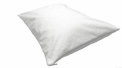Zipped Pillow Protector Covers Cotton Soft Waterproof Terry Towelling Pair Pack