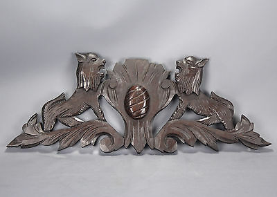 Antique Carved Wood Pediment Griffins