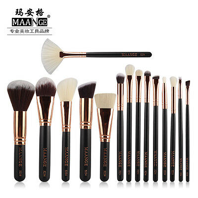MAANGE Pro 15pcs Rose Golden Complete Make Up Blush Brush Set Cosmetic Kit New