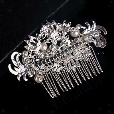Wedding Bridal Prom Crystal Pearl Hair Pin Clip Tiara Hair Comb Headpiece