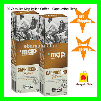 20 Capsules Map Italian Coffee Cappuccino Blend Capsule Pod Caffitaly System