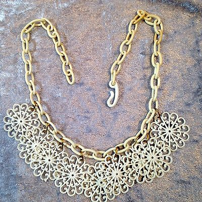 Vintage white celluloid filigree flowers necklace
