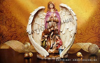 Holy Family Christmas Statue 29.6Cms With Angel Wings Decoration Ornament New