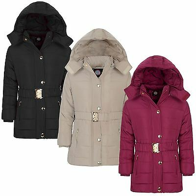 Girls Long Belted Winter Quilted Jacket Kids Detach Hood Padded Zip Coat 3-14 Y