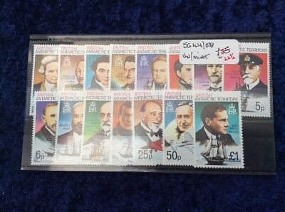 British Antarctic Territory Definitive Set SG 44/58 1/2p/£1 U/M MNH