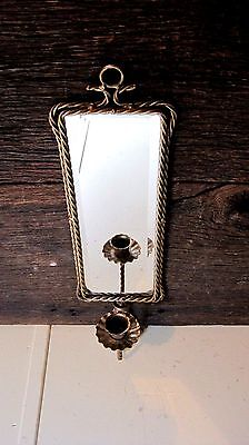 Vintage Mid Century Mirrored Wall Sconce Home & Garden Taper Candle Holder
