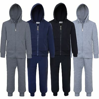 Kids Teen 2-Piece Set Jogging Bottoms Hooded Zip Top Plain Tracksuit 5-16 Years