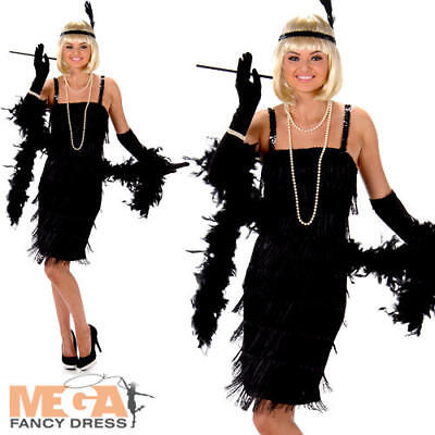 Black Flapper Ladies Fancy Dress 20s 1920s Jazz Charleston Womens Adults Costume