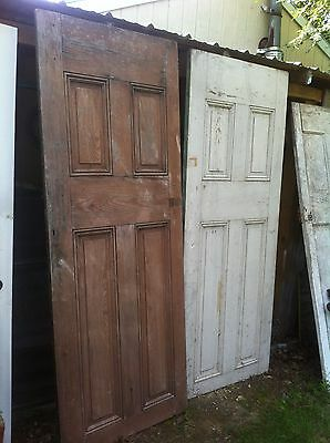 """Vtg Architectural Salvage Wood Farm Door Rustic Cabin Dining Table """" Tan"""