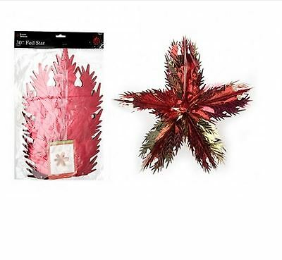 Giant Christmas Foil Gold Red Star Ceiling Decoration Hanging Party Xmas Garland
