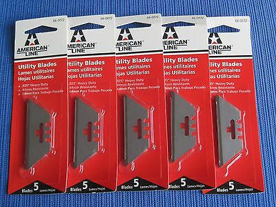 25 UTILITY KNIFE BLADES (5 packages of 5 each) AMERICAN LINE