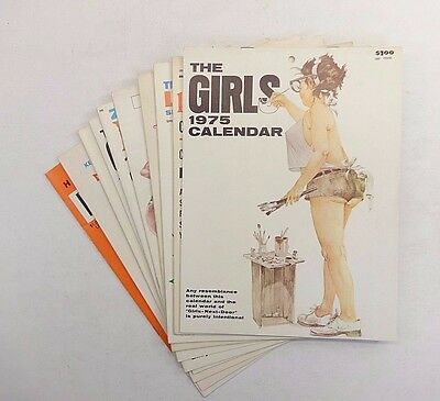 Lot (10) Vintage ADULT Collectible Calendars 1960-70 Cartoon Women Girls