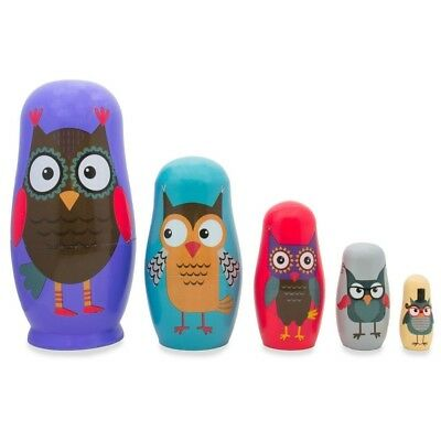"""5.75"""" Set of 5 Wise Owls Family Wooden Nesting Dolls"""