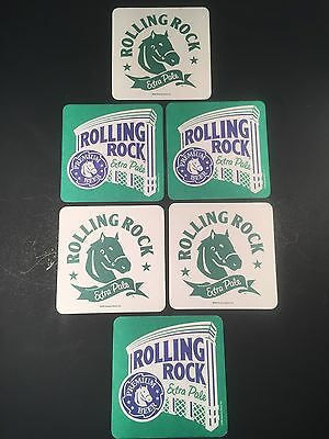 SET OF 6 ROLLING ROCK Anheuser-Busch BEER MAT COASTER BIERDECKEL SOUS-BOCK