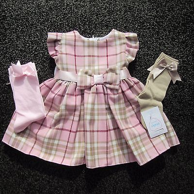 Girls Pink Tartan Pinafore dress with bow & frill sleeve by Kinder 0 to 4 years