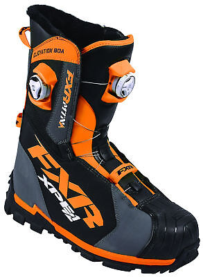 FXR Mens Charcoal Grey/Orange Elevation Lite BOA Focus Snowmobile Boots Snow