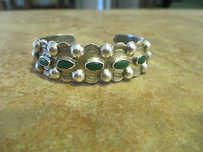 Very OLD Fred Harvey Era Navajo Coin Silver Turquoise ROW Bracelet    1920's