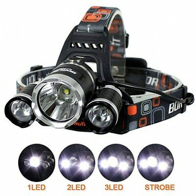 LED Headlight Torch 6000Lm 3 x XML Cree T6 Rechargeable Headlamp Head Light Lamp