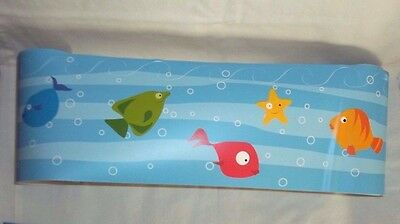 Colorful Fishes Water Waves Wall Border Peel n Stick Decor 5 Yards 15 feet New