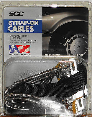 """EMERGENCY STRAP-ON CABLES ES8961 Snow Traction Chains SCC For 13"""" 14"""" 15"""" Tires"""