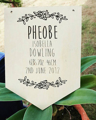 Custom Wooden Baby Announcement w' Flowers Plaque. Nursery Decor. Baby Gift.