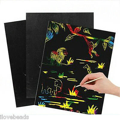 5PCs/Packet Black Rectangle Scratch Drawing Paper A4 Kid Toy 34x22.5cm